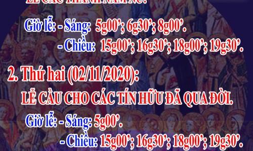Chương trình lễ các thánh Nam Nữ và các Linh hồn